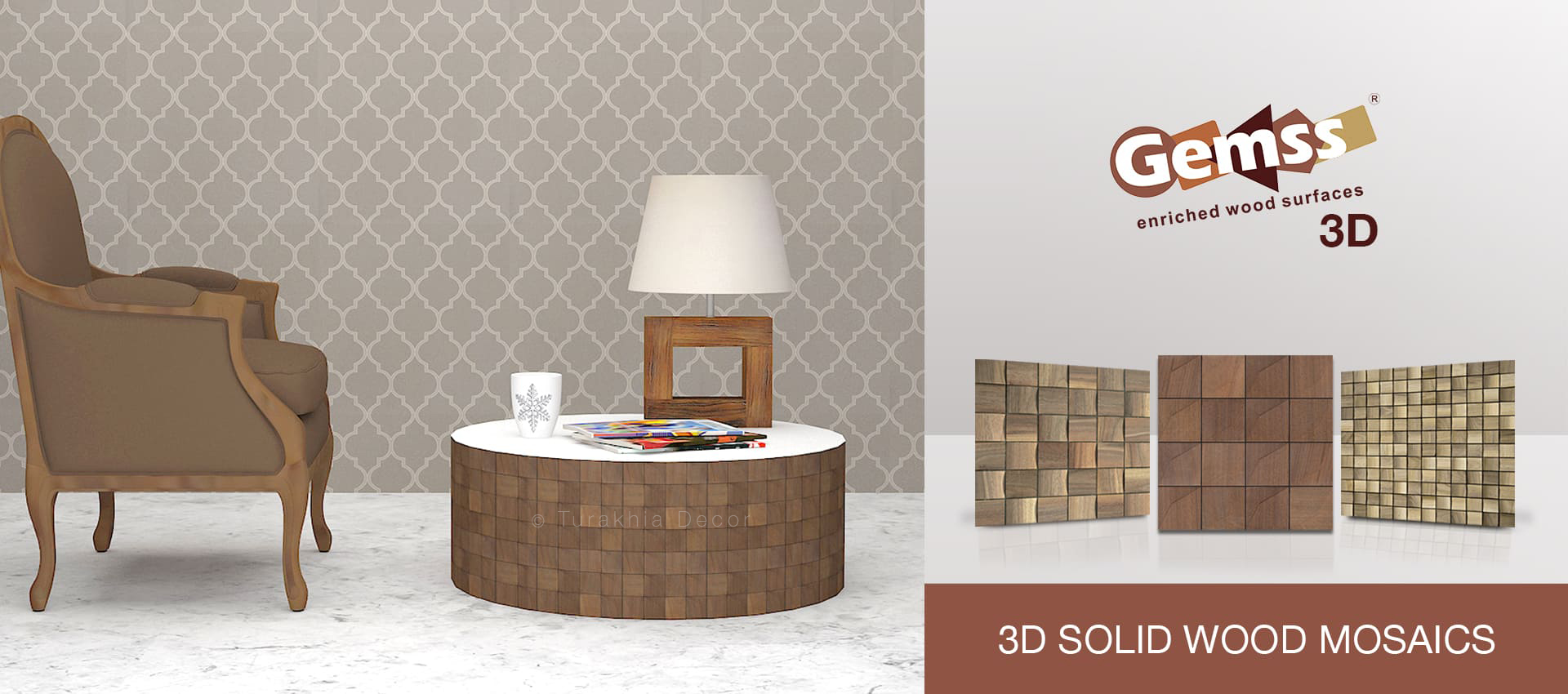 Gemss 3D Solid Wood Mosaics